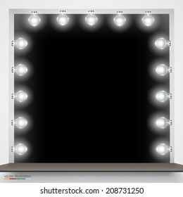 Vector Illustration of mirror with bulbs for makeup. Background Frame.