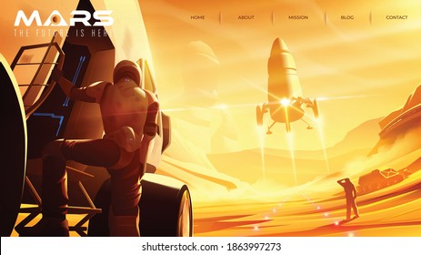 Vector illustration of missions on the mars that has the space shuttle is landing on the Mars surface for landing page template