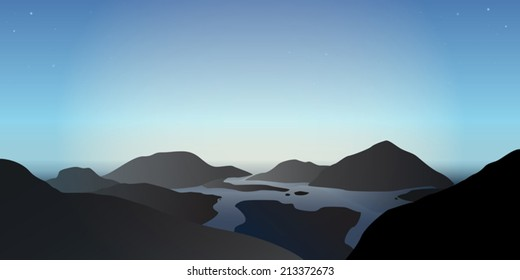Vector illustration of a misty morning in beautiful blue mountains at delta of a lake river
