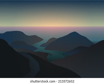 Vector illustration of a misty sunrise in beautiful blue mountains at the ocean in delta of river