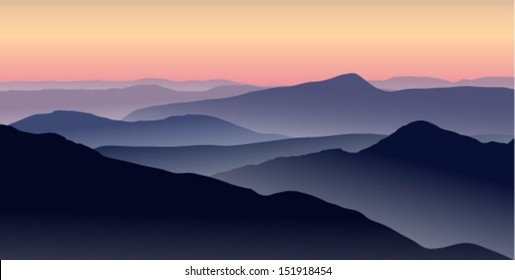 Vector illustration of a misty sunrise in the blue mountains