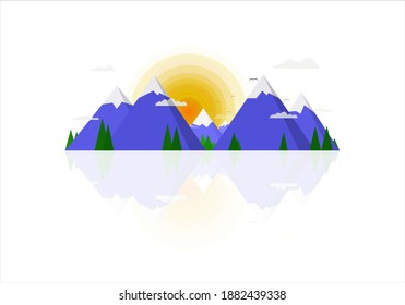Vector illustration of a misty sunrise in the blue ice mountains