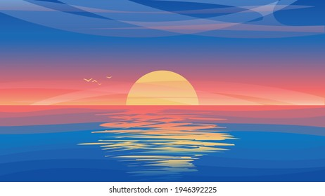 Vector illustration with misty sunset and reflection on water