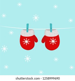 vector illustration, mittens, new year, snow