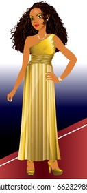 Vector Illustration of mixed woman with gold dress and red carpet.
