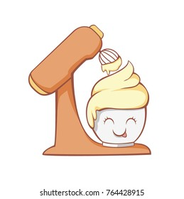Vector illustration of a mixer that whacks the dough in a cupcake. Character cupcake with a smile.