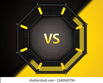 Vector illustration of MMA cage.Mixed martial arts octagon cage, top view