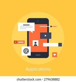 Vector illustration of mobile applications flat design concept.
