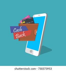 Vector illustration of mobile banking. Cash back or refund app. Smart phone with mobile wallet. Ecommerce