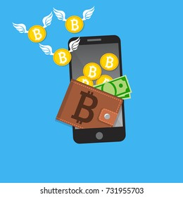 Vector illustration of mobile bitcoin payment concept. Mobile cryptocurrency. Blockchain integration. Bitcoint payment, transaction or donation