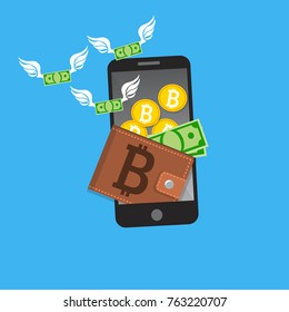 Vector illustration of mobile bitcoin payment concept. Mobile cryptocurrency. Blockchain integration. Bitcoin payment, transaction or donation