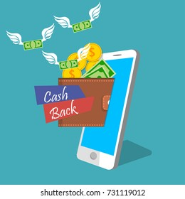 vector illustration of mobile money earning or income. Money flies in mobile wallet. Wallet and bankotes with wings on smart phone screen
