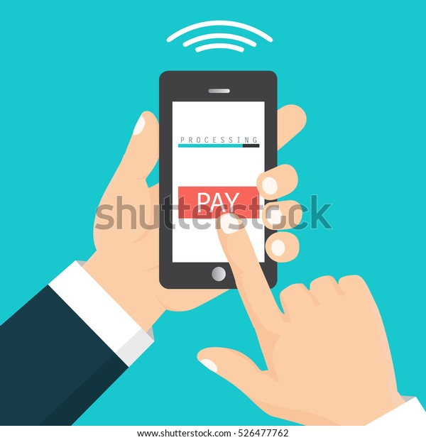 Vector illustration. Mobile payment concept. Hand holding a phone. Smartphone wireless money transfer. Flat design.