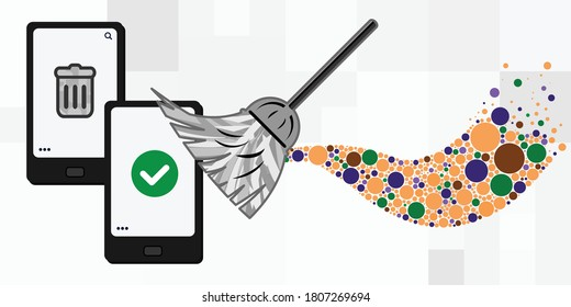 vector illustration of mobile phone cleaning with broom and emptying cellphone storage space