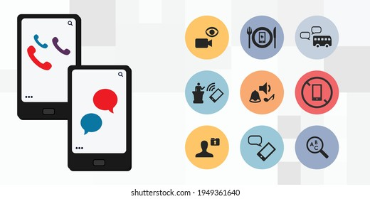 vector illustration of mobile phone and rules of usage with care and etiquette cellphone manners