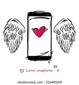 Vector illustration of a mobile phone, wings and heart. Design greeting card on Valentine's Day.
