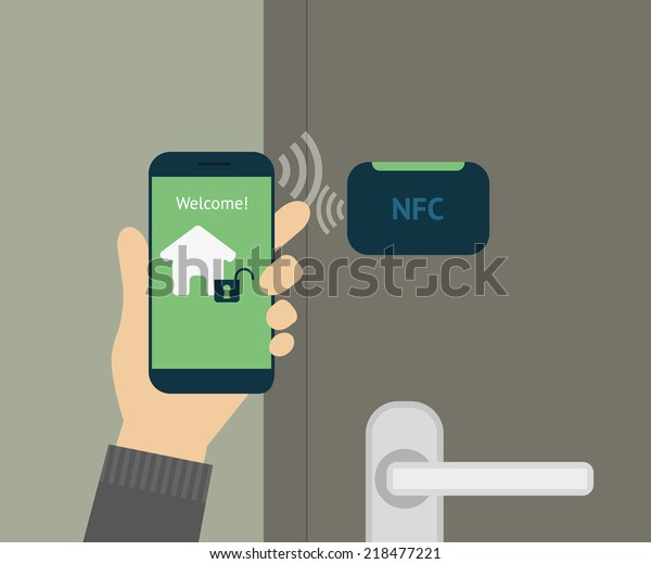 Vector illustration of mobile remote unlocking home door via smartphone. Human hand holds smartphone with app to remote access and lock his smart house. Flat security concept for smart home lock door