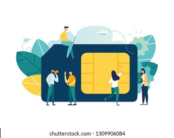 Vector illustration, mobile sim card, microcircuit, mobile phone communication scheme