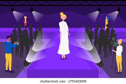 Vector illustration of model on the catwalk. Woman demonstrating clothes on podium at fashion show