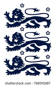 Vector illustration of modern 3 lion crest from England, UK