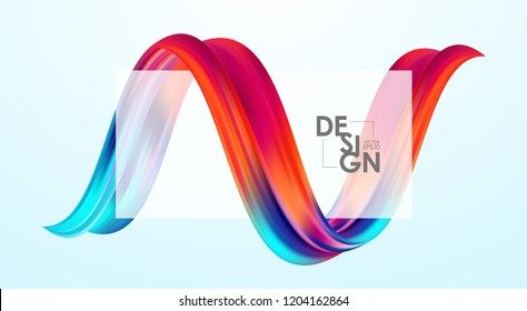 Vector illustration: Modern abstract blank background with 3d twisted colorful flow liquid shape. Acrylic paint design