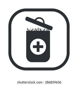 vector illustration of modern b lack icon trashcan
