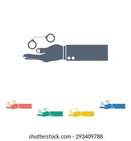 vector illustration of modern b lack icon police handcuffs