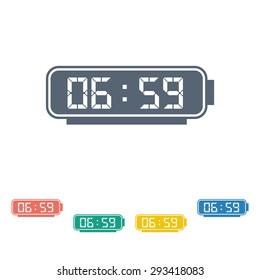 vector illustration of modern b lack icon alarm clock