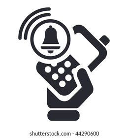 Vector illustration of modern black icon depicting a cellular phone alarm