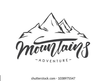 Vector illustration: Modern brush lettering of Mountains Adventure with Hand drawn Peaks of Mountains sketch