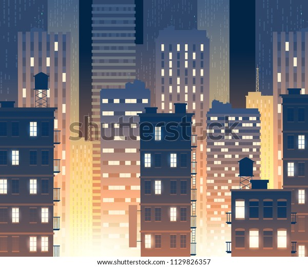Vector Illustration Modern Buildings Night Background Stock Vector ...