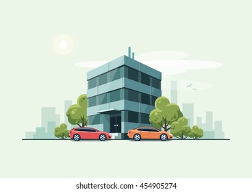 Vector illustration of modern business office building with green trees and cars parked in front of the workplace in cartoon style. House has glass facade. City skyline on green turquoise background.