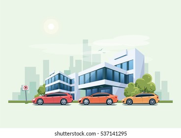 Vector illustration of modern business office building with green trees and cars parking in front of the workplace in cartoon style. Vehicles parked on wrong place with no parking sign.