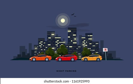 Vector illustration of modern cars parking along the town street in cartoon style. Vehicles parked wrong road with no parking sign. Night city skyscrapers building office skyline on blue background.