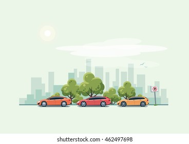 Vector illustration of modern cars parking along city street with green trees in cartoon style. Hatchback, station wagon and sedan parked on wrong place. City skyline on green turquoise background.