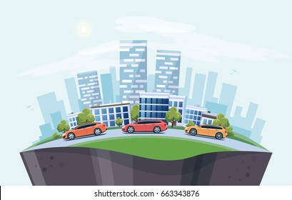 Vector illustration of modern cars parking along the town street in cartoon style arranged in arc. City skyscrapers building office skyline on blue background. Earth globe section underneath.