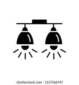 Vector illustration of modern ceiling lamp. Flat icon of spot lights. Home & office lighting. Isolated object on white background.