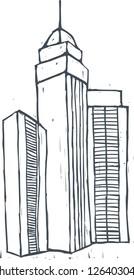 A vector illustration of modern cityscape