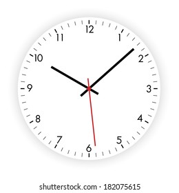 Vector illustration of a modern clock dial on the white background