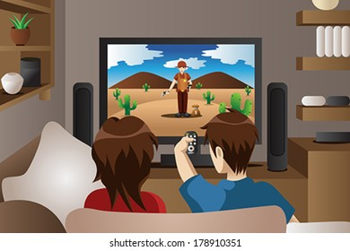 A vector illustration of modern couple watching television in the living room
