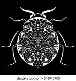 Vector illustration of a modern design mono line. White beetle on a black background. Designed for printing on gift items, clothes, covers, postcards.