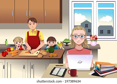 A vector illustration of of a modern family which dad prepares the dinner with his children while mom is working