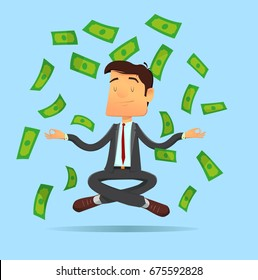Vector illustration in modern flat design style - yoga businessman meditating in lotus pose on money rain background. Full editable for animation.