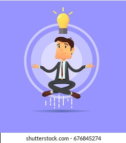 Vector illustration in modern flat design style - enlightenment buddha yoga businessman meditating in lotus pose and have new idea with bulb on head. Full editable for animation.