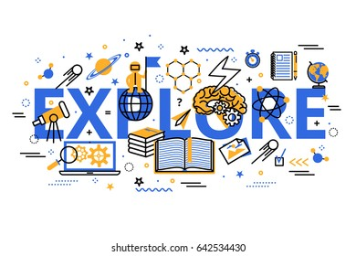 Vector illustration in modern flat line design. Explore concept web banner. Explore and Learning heading, title, web banner.