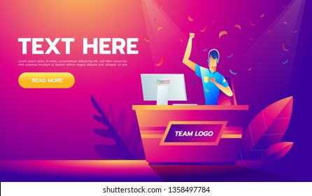 Vector illustration in modern flat linear style - cybersport tournament concept - man playing online game game in front of the computer screen.