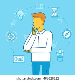 Vector illustration in modern flat linear style - man thinking about business planning and time management - productivity and personal growth concept