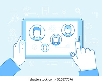Vector illustration in modern flat linear style and infographic design elements - human resources concept -searching professional staff - remote team management and control