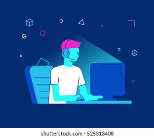 Vector illustration in modern flat linear style - cybersport tournament concept - man playing online game game in front of the computer screen