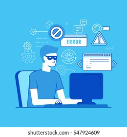 Vector illustration in modern flat linear style - hacker at the computer - email viruses, bank account hacking and fraud concept - password and data thief